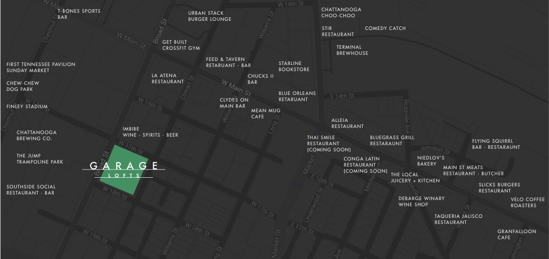 Map of Garage Lofts in Southside Chattanooga, TN